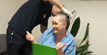 Tracey Jackson shaves her head for charity